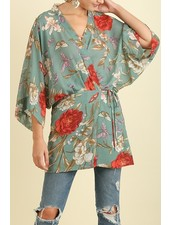 Floral Kimono with Tie Waist