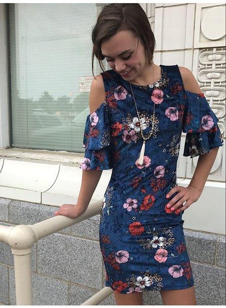 Cold Shoulder Velvet Floral Dress