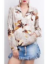 Printed Velvet Bomber Jacket