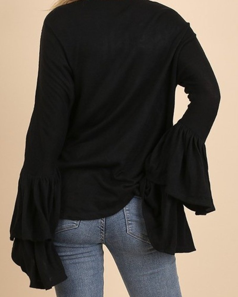 Bell Sleeve Top w/ Embroidery