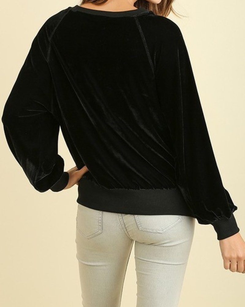 Long Sleeve Velvet Top