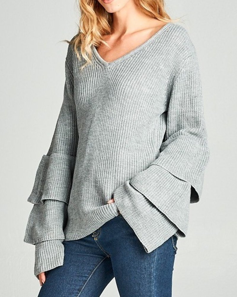 V neck sweater with layered bell sleeves