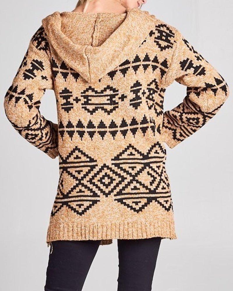 hooded tribal cardigan