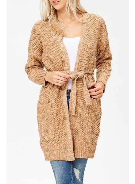 Long Cardigan with pockets & Tie