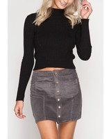 Corduroy mini skirt w/ frnt buttons