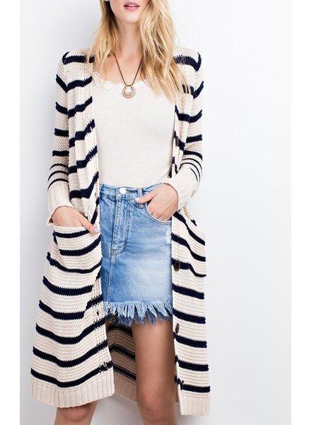 LS Stripe Cardigan