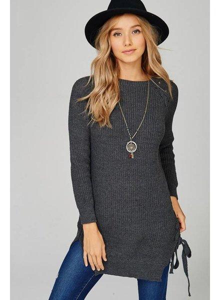 Side lace up sweater dress