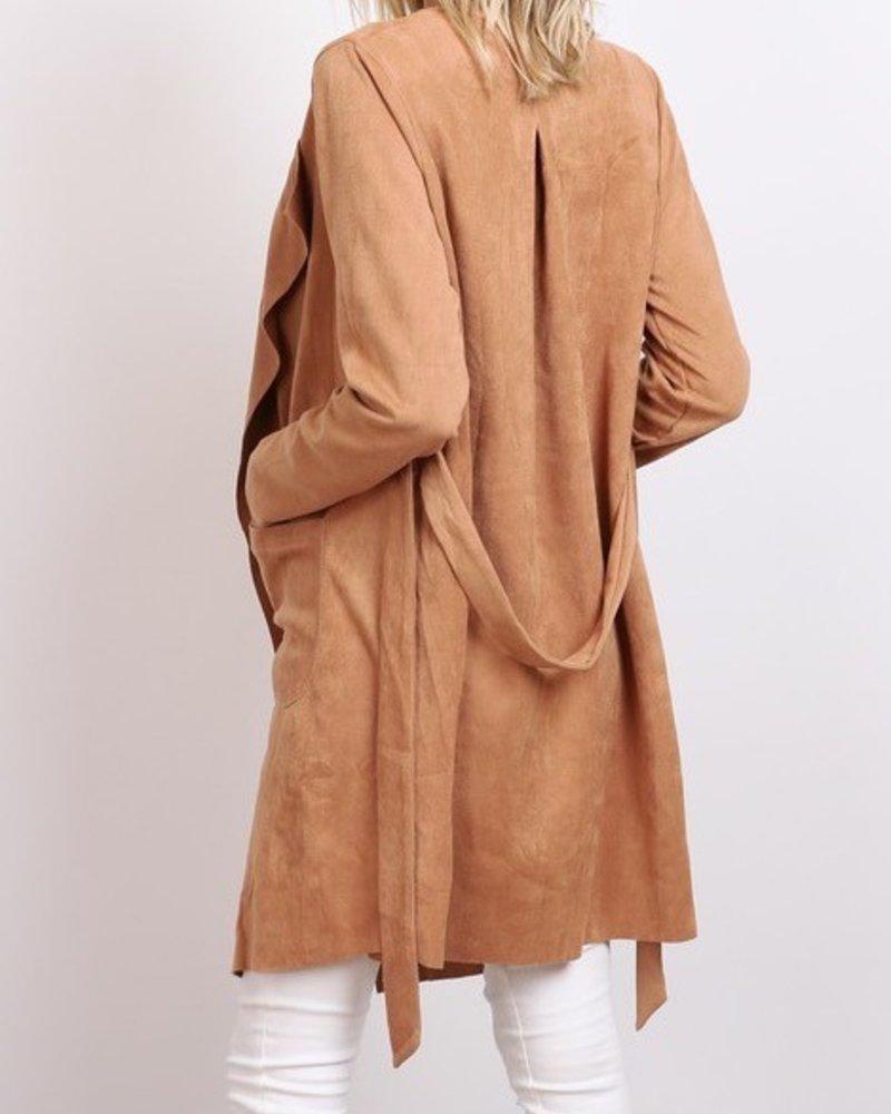 suede house coat w/tie