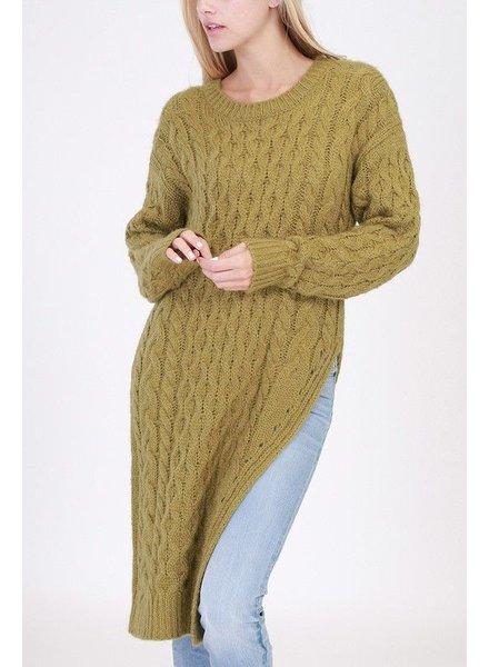 Side slit long sweater