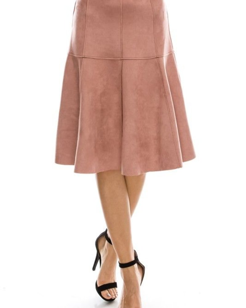 flare suede skirt