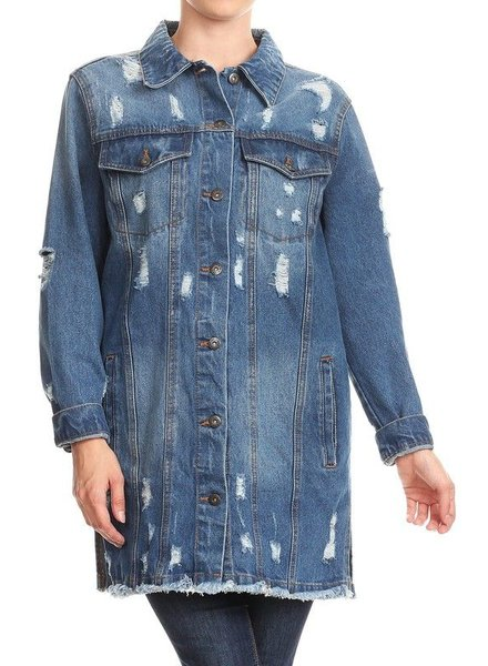 Distessed Denim Long Jacket