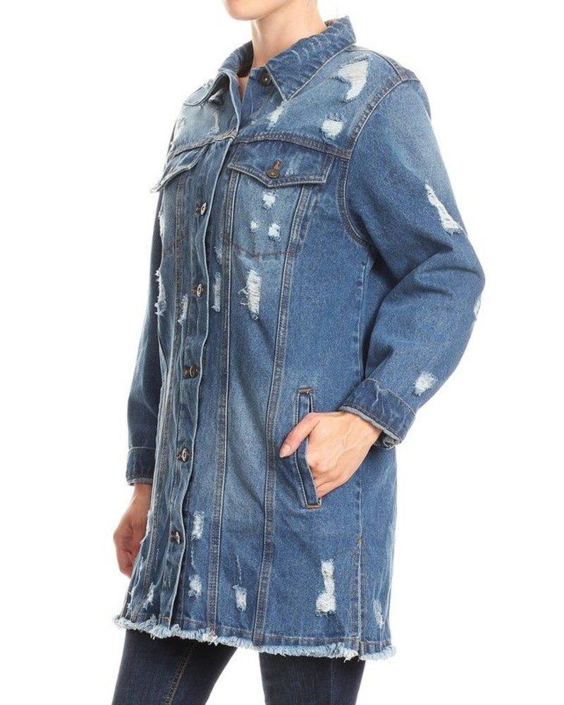 Distessed Denim Long Jacket