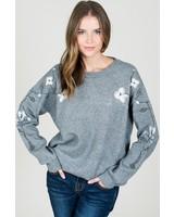 Round-neck sweater W/ floral