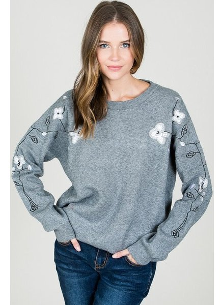 Round-neck sweater W/ floral
