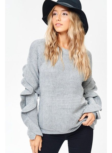 Ruffle Sweater Knit Top
