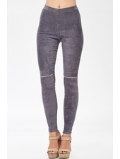 SUEDE LEGGINGS w/ ZIPPER ON KNEE