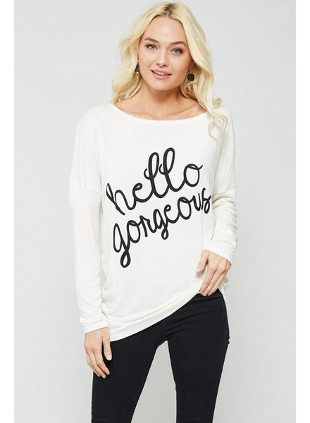 graphic top w/ round neckline, dropped shoulder, long sleeves