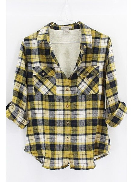 FLANNEL PLAID SHIRT WITH FUR