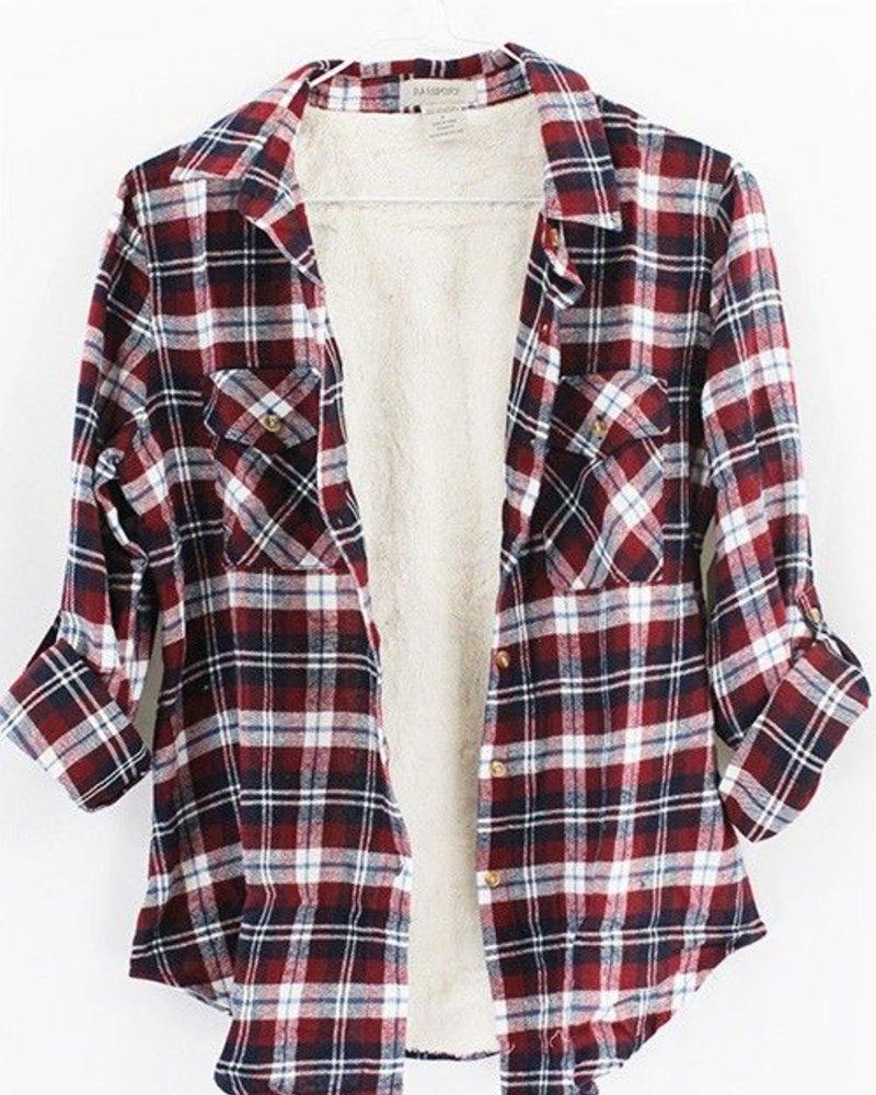 Rolled Sleeve Flannel w/ Fur