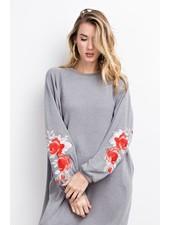 Long Sleeved Embroidered Pocket Sweatshirt Dress