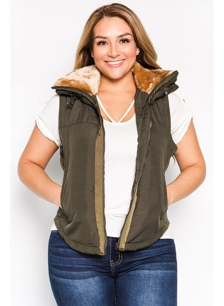 FUR LINED QUILTED PAD VEST