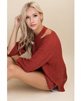 Cut Out Neck Sweater Knit Top