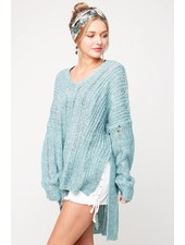 V-Neck Long Sleeve Sweater - Oversized