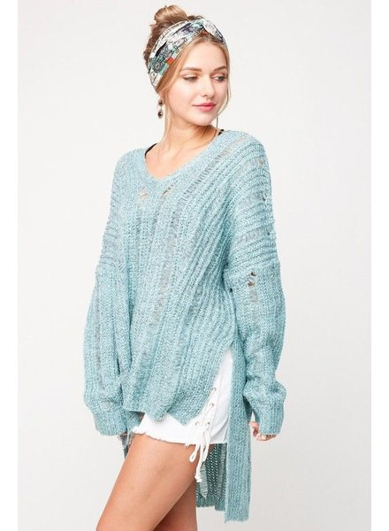 V-Neck Long Sleeve Sweater - Oversized
