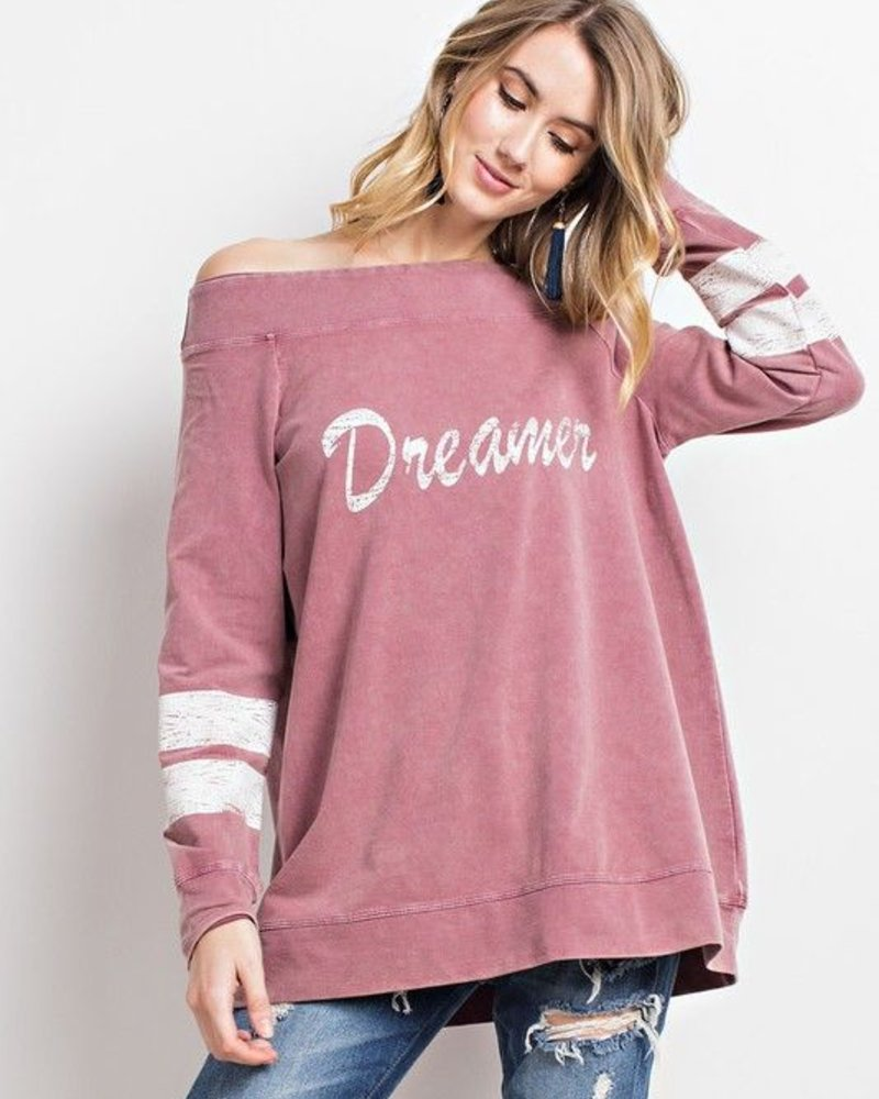 long sleeved Graphic Top Long Sleeve Off Shoulder