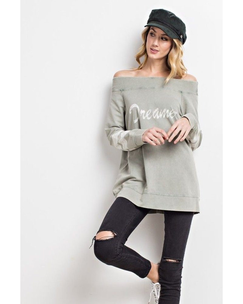 Graphic Top Long Sleeve Off Shoulder