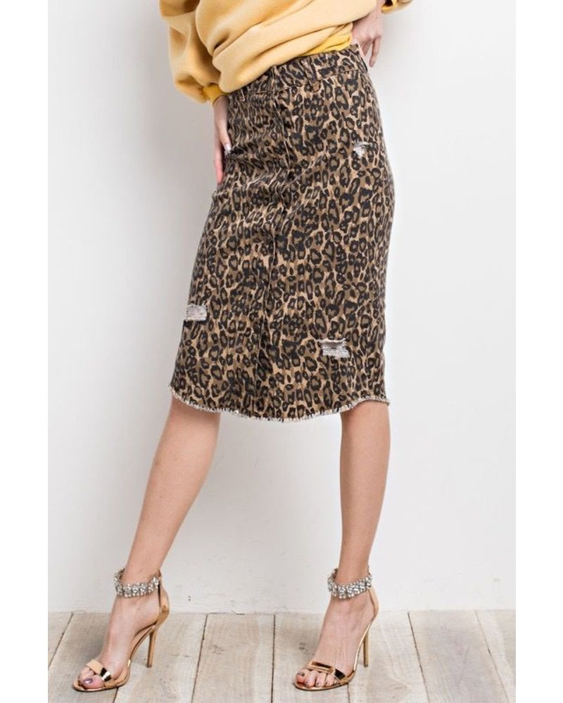 LEOPARD PRINT BUTTON DOWN DISTRESSED MIDI SKIRT