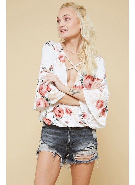 Floral Surplice Neck Knit Top