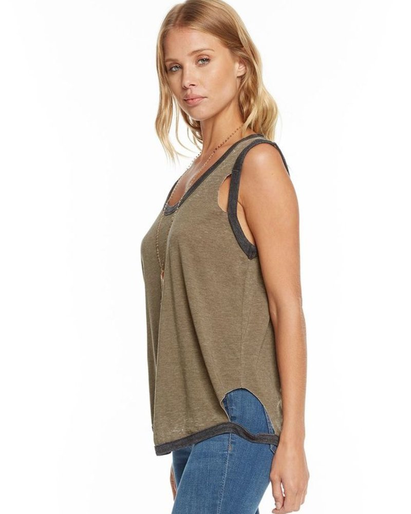 Blocked Jersey Deconstructed Roll Sleeve Scoop Neck Muscle Tee