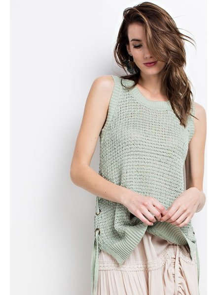 Sleeveless Round Neck Hi Low Sweater