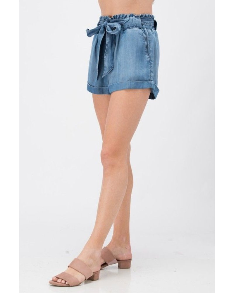 High Rise Paper Bag Shorts
