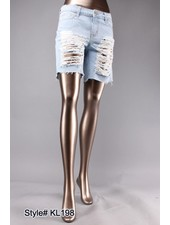 Light Wash Distressed Boyfriend Shorts