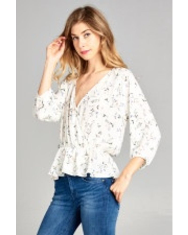 Floral 3/4 Sleeve Wrap Top