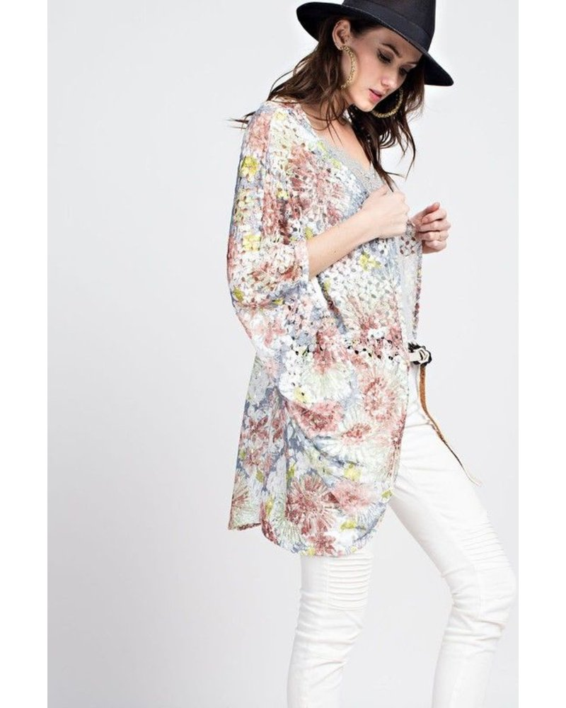 FLORAL CACOON CARDIGAN