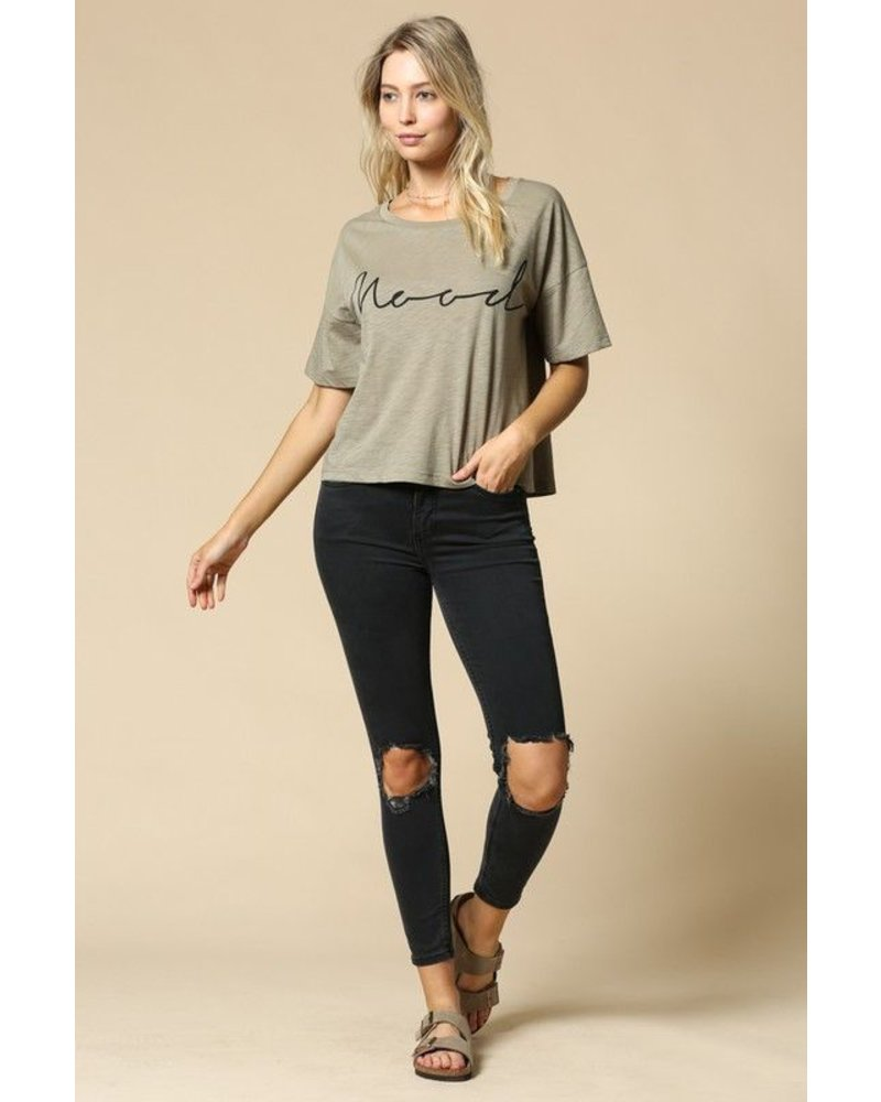 """Mood"" Graphic Cotton Slub Top"