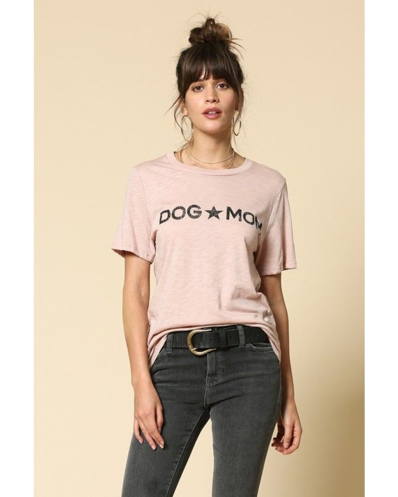 """Dog Mom"" Graphic Cotton Slub Top"
