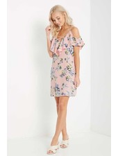 Floral Ruffled Cold Shoulder Dress