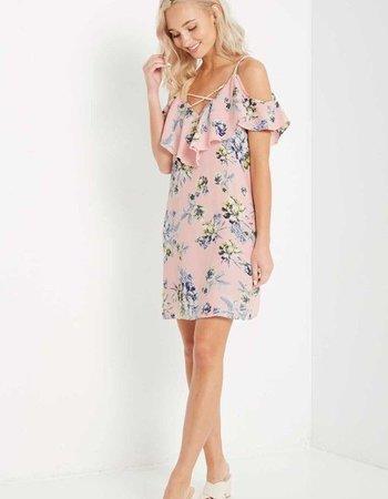 Floral Ruffled Cold Shoulder Dress