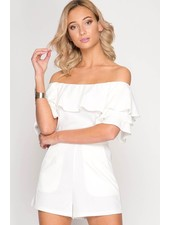 DOUBLE RUFFLED SHORT SLEEVE OFF SHOULDER ROMPER