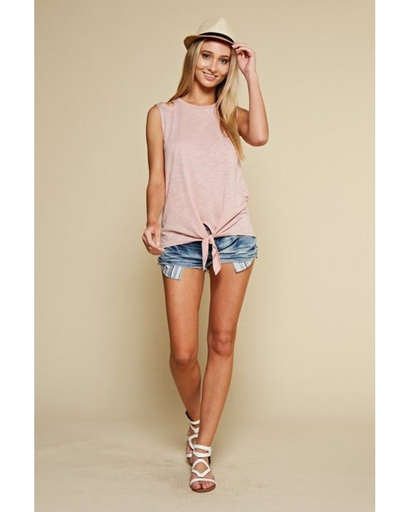 Self Tie Shoulder Cut Out Tank Top