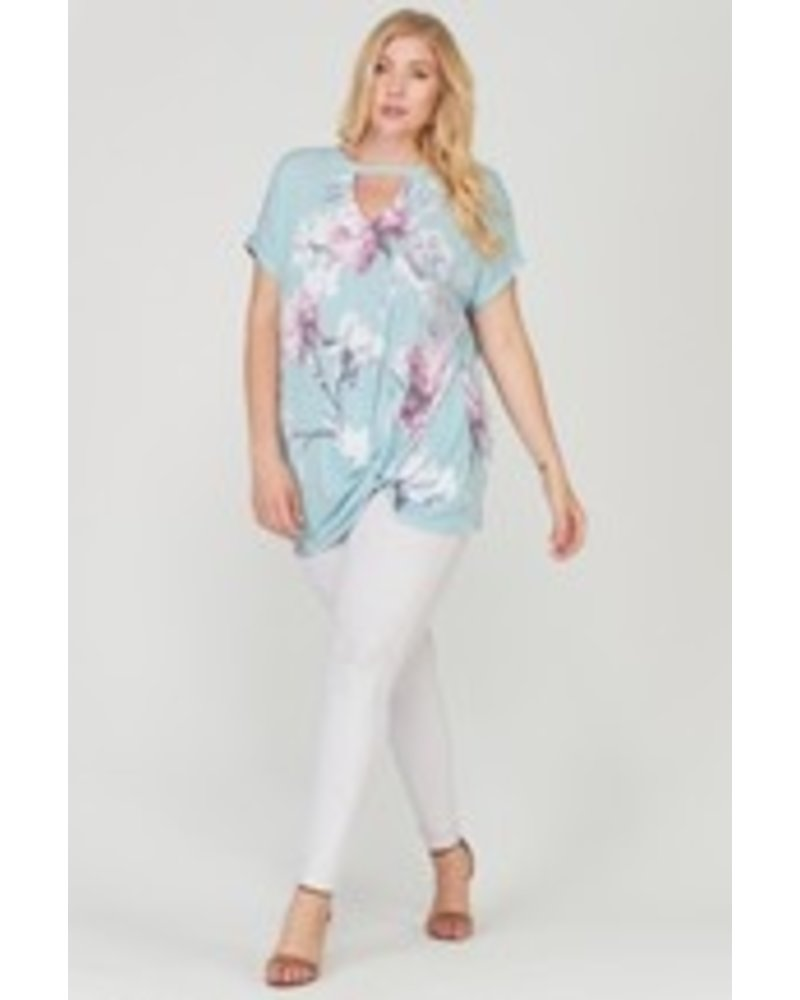 FLORAL CUTOUT FRONT TWISTED HEM