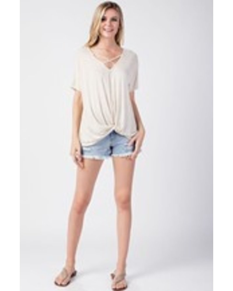 TWIST HEM CRISS-CROSS TOP