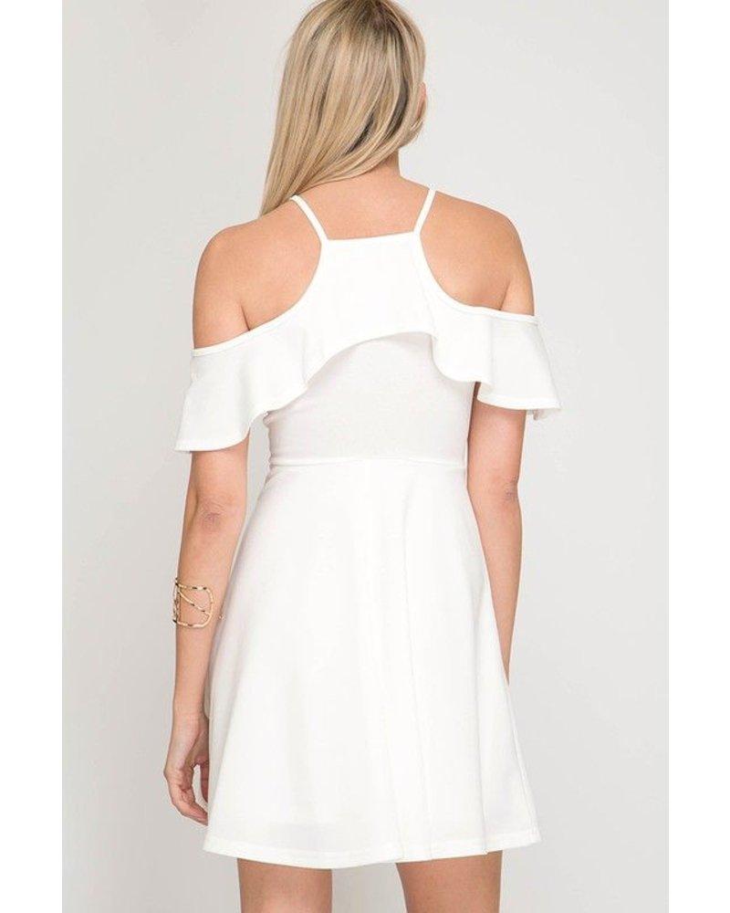 FLARE DRESS W/RUFFLED NECK