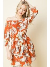 Floral Off Shoulder Tiered Dress