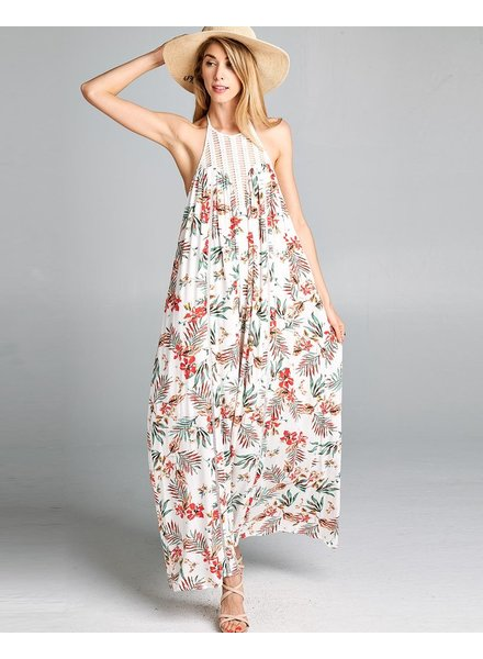 Halterneck trim floral printed maxi dress
