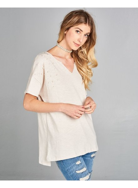 Knit Top with Pearl Detail
